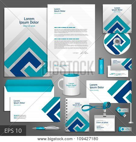 Corporate Identity Template With Blue Elements