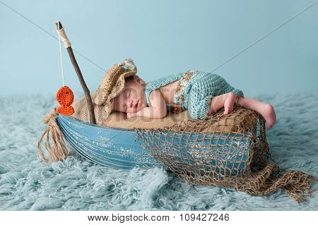 Newborn Baby Boy In Fisherman Outfit