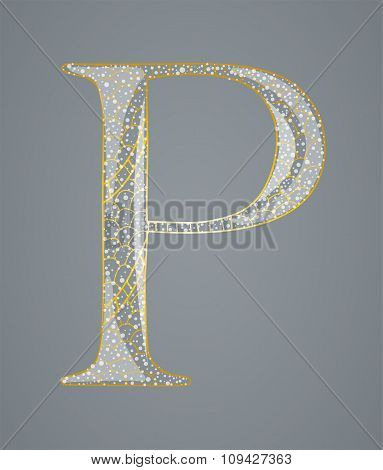 Abstract golden letter P.