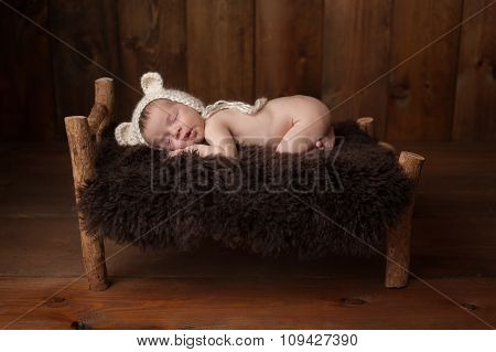 Newborn Baby Boy With Bear Bonnet