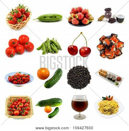 Pack Of 16 In 1 Food And Drink Isolated: Tomatoes, Strawberry, Cucumbers, Vegetable Marrow, Cherries