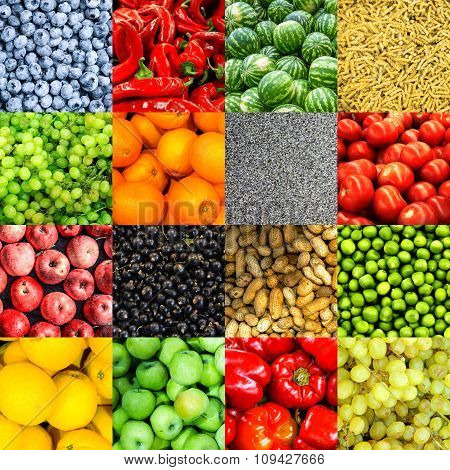 Mix Collage Of 16 In 1 Food Background: Tomatoes, Blueberry, Apples, Pasta, Peas, Red Chili Pepper,