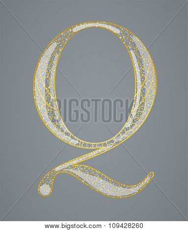 Abstract golden letter Q.
