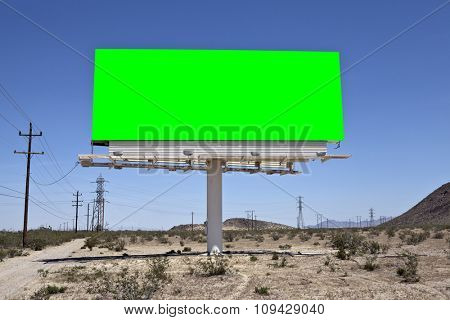 Green chroma key billboard in the middle of California's Mojave desert.