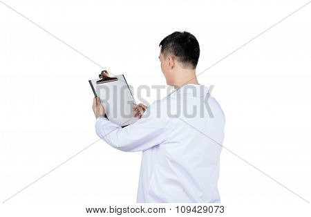 Asian Male Doctor Writing On A Medical Record Chart After Medical Treatment Of Patient, Isolated On