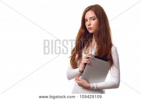 Redhead Businesswoman With Tablet Computer