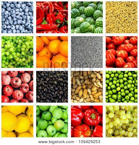 Mix collage of 16 in 1 food background divided by white frame