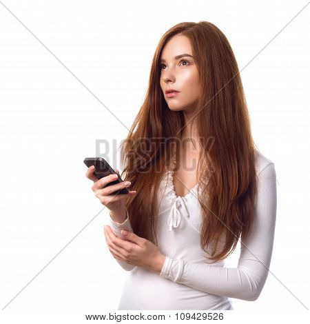 Redhead Businesswoman With Smartphone