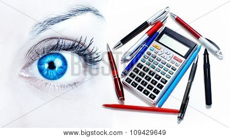 Beautiful Woman eye over business office background.