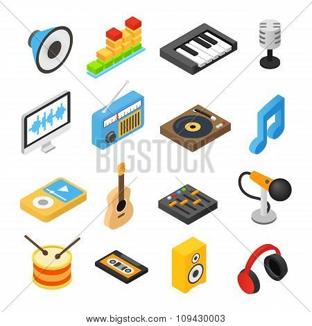 Music isometric 3d icons