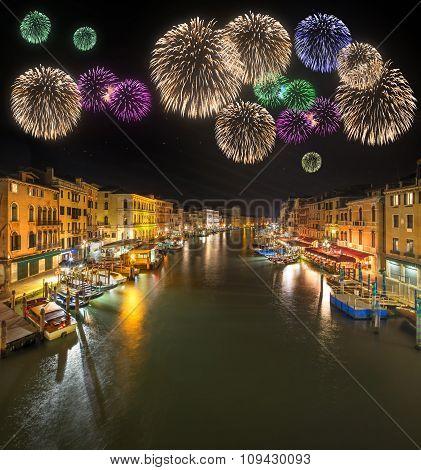 Beautiful fireworks under night, Venice