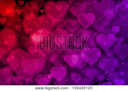 Red And Purple Hearts Background With Bokeh Effect