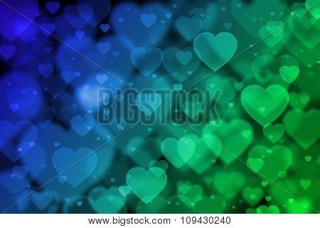 Blue And Green Hearts Background With Bokeh Effect