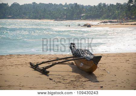 Boat on beach Tangalle Sri Lanka
