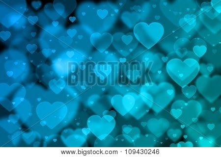 Blue Hearts Background With Bokeh Effect