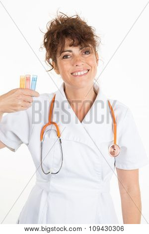 Woman Doctor Using Homeopathy Isolated On White Background