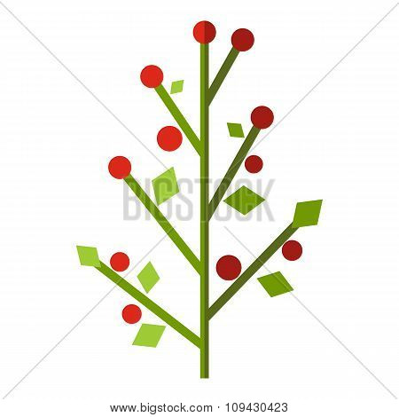 Tree with berries flat icon
