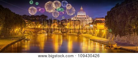 Beautiful fireworks under Vatican, Rome