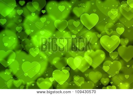 Green Hearts Background With Bokeh Effect