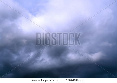 Clouds On The Blue Sky Before The Storm Filtered
