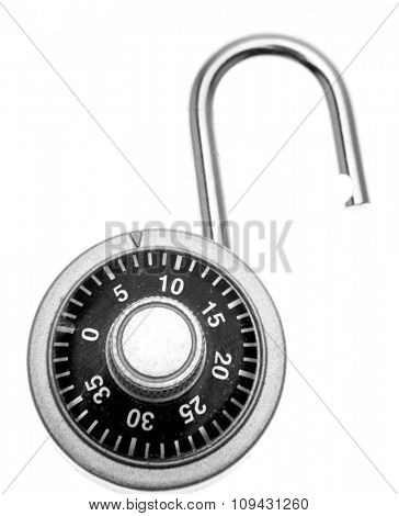 Open lock on plain background