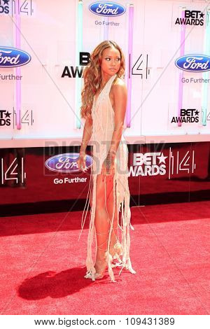 LOS ANGELES - JUN 29:  Karrueche Tran at the 2014 BET Awards - Arrivals at the Nokia Theater at LA Live on June 29, 2014 in Los Angeles, CA