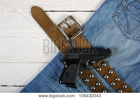 Planks, Phone, Lighter, Gun, Blue Jeans And Belt 2
