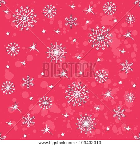Winter red background with snowflakes. Vector pattern Illustration