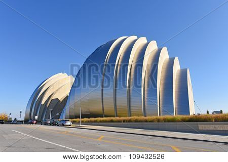 KANSAS CITY, MO - OCTOBER 11: Kauffman Center for the Performing Arts in Kansas City, Missouri.  Designed by Architect Moshe Safdie and completed in 2011 as an example of Structural Expressionism.