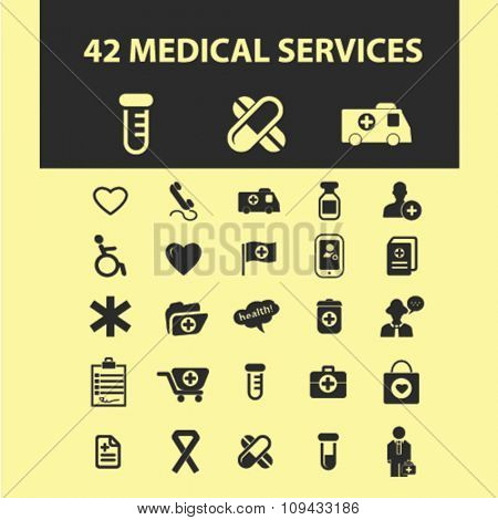 medicine research, medical technology  icons, signs vector concept set for infographics, mobile, website, application