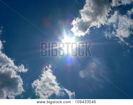 Cloudy Blue Sky And Bright Sun Like A Comet