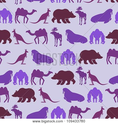Zoo Seamless Patten. Color Background Of Wild Beasts. Texture Of  Animals: Bear And Camel.