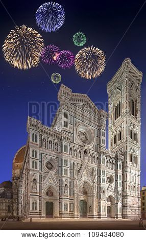 Beautiful fireworks under Cathedral with tower Florence