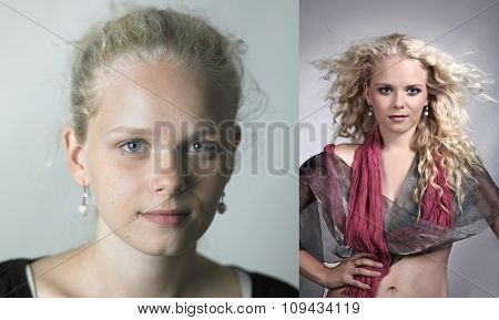 Girl Before And After Make-up