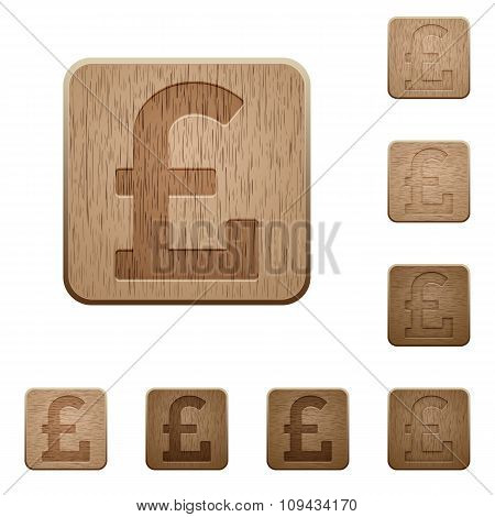 Pound Sign Wooden Buttons