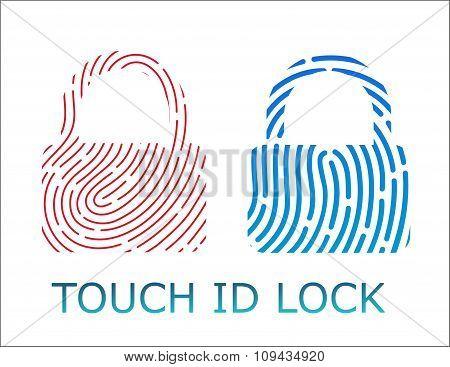 touch fingerprint id lock app vector illustration