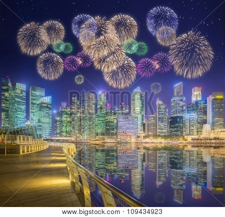 Beautiful fireworks in Marina Bay, Singapore