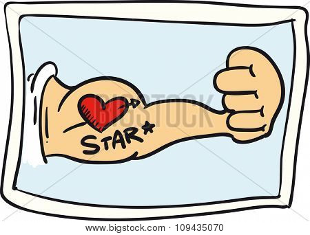 Drawing of a arms with a tattoo of a heart with the word star