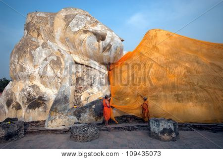 Reclining Buddha At Wat Lokayasutharam,Ayutthaya,Thailand.
