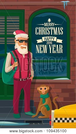 Hipster Santa Claus, monkey and taxi on New York street.