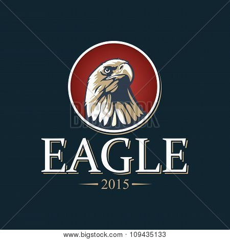 Eagle in red circle vector illustration.