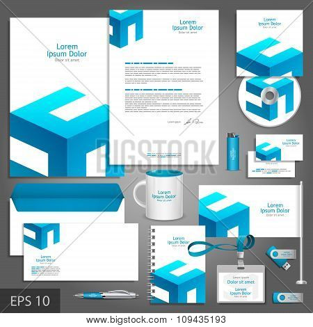 White Corporate Identity Template With Blue Elements