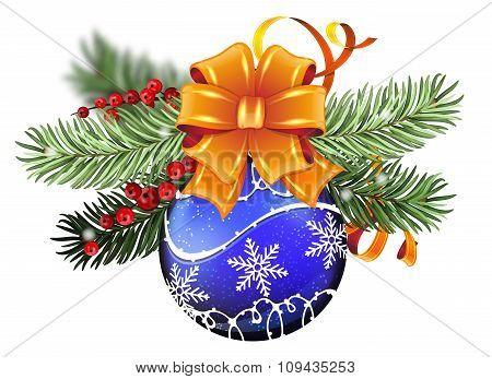Blue Christmas Ball With Orange Bow