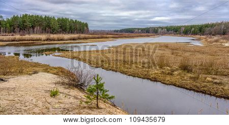 River Landscape In The Siberian Taiga
