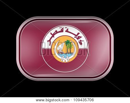 Qatar Coat Of Arms. Rectangular Shape With Rounded Corners