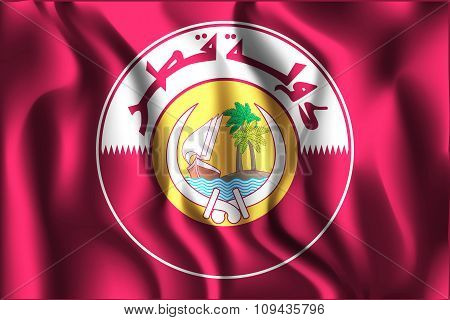 Qatar Coat Of Arms. Rectangular Shape Icon