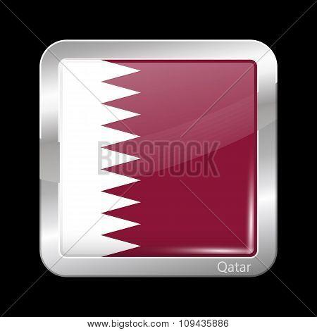 Flag Of Qatar. Metallic Icon Square Shape
