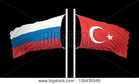 Russian and Turkish flags on black background. Isolated