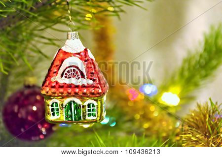 Christmas toy little house on the tree