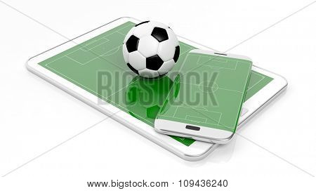 Soccer field with ball on smartphone edge and tablet display, isolated on white.